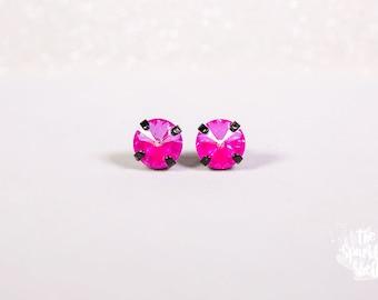Pink Ultra AB Rivoli Swarovski Shiny Noir Black Stud Earrings - 10mm