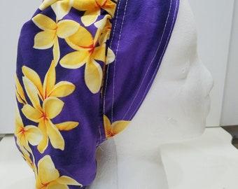 Purple with Yellow Tropical/Hawaiian Flowers Surgical/ Scrub Cap