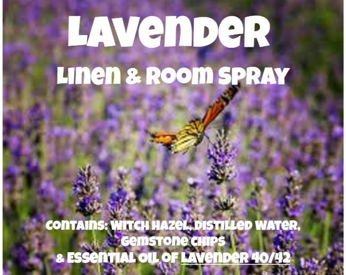 Lavender Linen, Body & PJ's Spray lvnl025 Anxiety, Calm, Relax for Sleep with Gemstone Chips