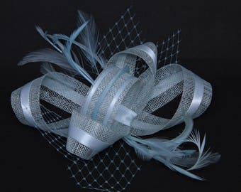 Pale ice blue  fascinator on a comb, Alice band or clip.