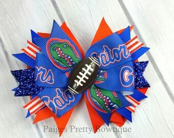 "3.5"" Florida Gators Football Hair Bow Hair Bow-Alligator Clip"