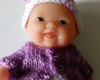 "Berenguer 5 ""Lots to Love Baby Doll. 5pce set of knitted clothes. 1 sets available.  Purple & White"