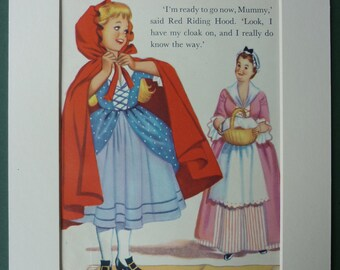 Vintage Little Red Riding Hood print - 1950s - fairy tale - cape - basket - wolf - mother - grandmother