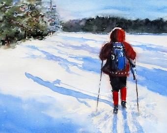 Lone Skier Minnesota cross country ski ART Print from original watercolor painting winter snow