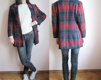 vintage 80's Tartan plaid check double breasted blazer jacket S M