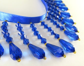 Cobalt Blue and Gold 2.25 inches Medium Beaded Fringe Trim, Costume, Bridal or Home Decorator Beaded Trim