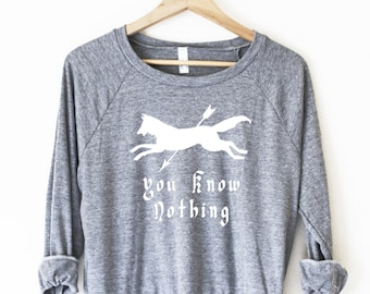Jon Snow and Ygritte, You Know Nothing Women's Pullover - by So Effing Cute - Game of Thrones inspired design