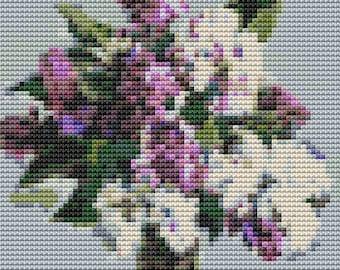 Lilacs Cross Stitch Chart, Still Life with Lilacs MINI Cross Stitch Pattern PDF, Pyotr Konchalovsky, Embroidery Chart