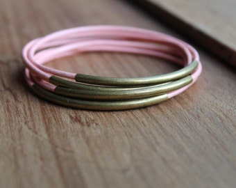 The Valley Pretty in Pink Leather and Antique Gold Brass Bangles