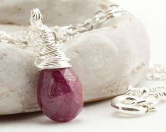 Genuine Ruby Necklace, July Birthstone Necklace, Gemstone Jewelry, July Birthday Gift for Wife, Mom, Handmade Wire Wrapped Sterling Silver