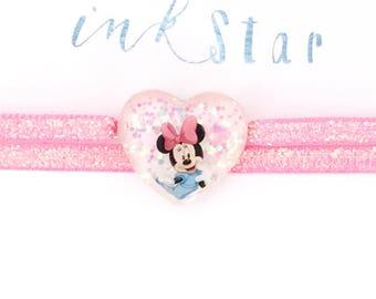 Minnie Mouse Disney Velvet Choker - illustrated - Minnie Disney Glitter Heart Necklace
