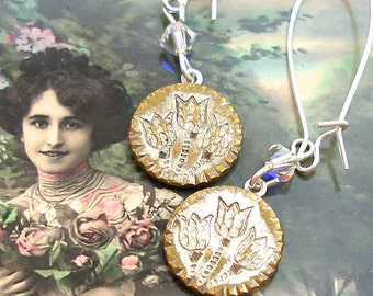 Tulips, 1800s BUTTON earrings, Victorian flowers on silver. Antique button jewellery.