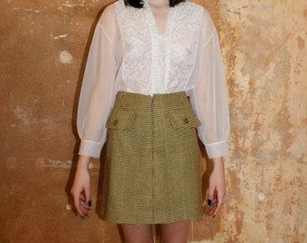 VTG white romantic seetrough balloonsleeve lace blouse