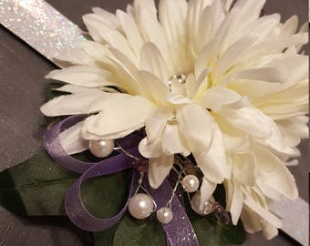 White Silk Gerbera Wrist corsage with purple accents