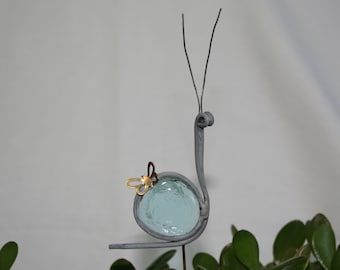 Stained Glass Aqua Blue Snail Plant Stake, Garden Art