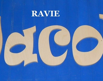 """Wooden Wall Letters - 8"""" Size - Unpainted - Ravie plus Various other Fonts - Gifts and Decor for Nursery - Home - Playrooms - Dorms"""