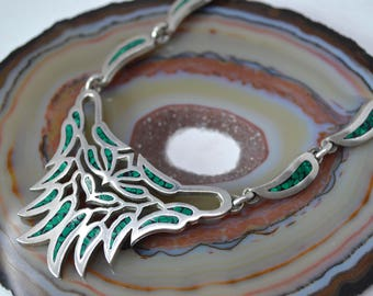 Vintage Taxco Mexico Sterling Silver Malachite Inlay Handmade Necklace - 18 in - TO-8 - 580118442