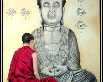 Novice and his Buddha - Zen oil on canvas