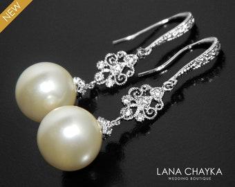 Pearl Bridal Earrings, Swarovski 12mm Ivory Pearl Earrings, Pearl Wedding Jewelry, Large Pearl Chandelier Earrings, Bridal Pearl Jewelry