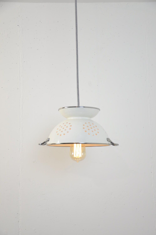 Colander Light   White Pendant Lights   Strainer Lamp   Kitchen Lighting    Island Light Fixture   Plug In Light   Farmhouse Lights   Decor