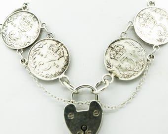 A Vintage Silver Coin Bracelet    SKU1065