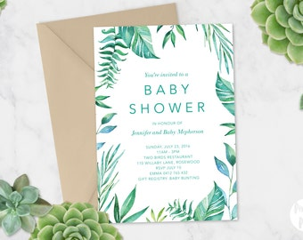 Printable Baby Shower Invitation   Baby Shower Invite   DIY Printable   Wreath Leaves Greenery