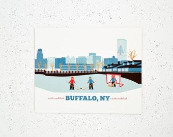 Buffalo, NY Marina Hockey Buffalo Skyline Print, Gift for Him or Her, 15 gift