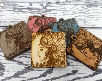 Engraved Wood Goddess Mother Earth Nature Pendant Earrings Necklace Findings Embellishments Drop Charm Laser