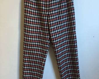Steam Punk Plaid Pants // Vintage Red Cream Black Checkered Arnold Palmer Wool Pants