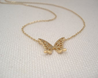 Tiny Butterfly necklace..Simple, Minimalist, handmade jewelry, everyday, bridesmaid gift, flowergirl, best friends gift