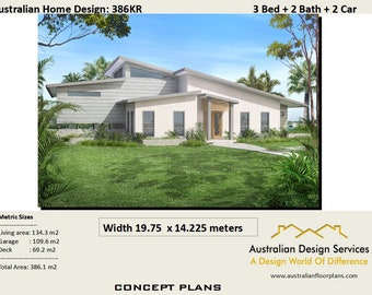 386KR House Plans | 3 bedroom + 2 bath | 3 Bed Room house plans | Home plans for 3 bedroom | floor plans 3 bedroom |  386 m2