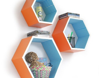 Bright And Sunny Hexagon Leather Wall Shelf / Bookshelf / Floating Shelf (Set of 3) TRI-WS154-HEX