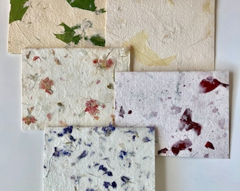 Floral and Leaf Inclusion Handmade Paper Blank Cards, box set of 5