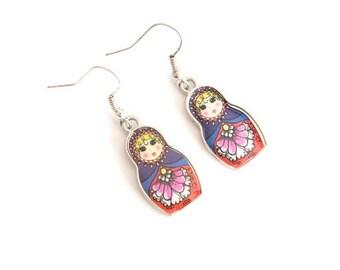 Red and blue MATRYOSHKA earrings