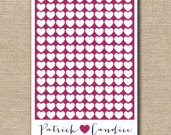 Wedding guest book alternative  - Wedding guestbook heart - Heart guestbook - Weddings - fuchsia navy wedding poster - Bridal shower gift