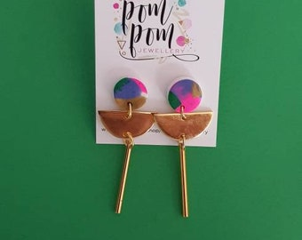 Handmade polymer clay multicolour and gold dangles