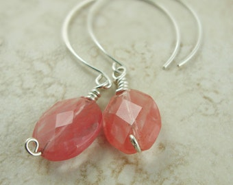 Sterling Silver Open Hoops with Cherry Glass Ovals - Handmade Jewelry - Pink Jewelry