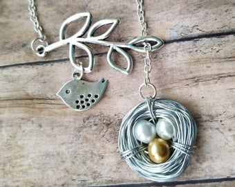 Family tree necklace, bird nest pendant, expectant mother, gift for mom, mother necklace, custom jewelry, bird nest necklace,