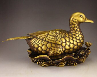 N4892 Vintage Chinese Gilt Gold Bronze Statue - Duck