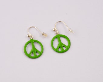 Peace and Love green enamel and silver buckles