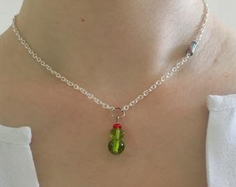 Minimalist Beaded Cactus Pendant on Silver Plated Chain