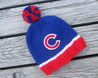 CHICAGO CUBS Hand Knit Baby Hat - Chicago Cubs Baby Hat - Hand Knitted Baby Hat, Chicago Baby Hat, Chicago Baby, Chicago, Cubs Baby Hat