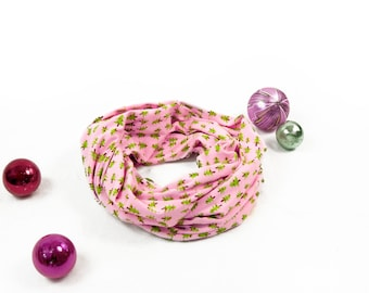 Holiday Infinity Scarf, Christmas Tree, Pink Scarf, Christmas Scarf, Holiday Scarf, Gift for Her, Best Friend Gift, Womens Scarf, Mom Gift