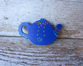 Blue Teapot Magnet Whimsical Cottage Traditional Farmhouse Folk Style Hand Painted One of a Kind with Green and Pink Ready to Ship M-5