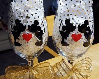 Cristal del vino Mickey & Minnie
