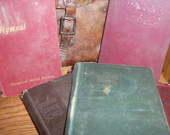 Collection of 4 Church Songs Music Books Singing Hymns Christian Sunday Hymnal Hardcover Vintage
