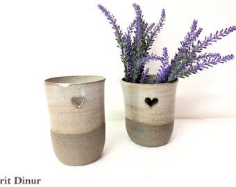 Pottery Vase, Ceramic Flower Vase, Gray White vase, Ceramic Flower Pot, Modern Ceramic Vase, Ceramic Utensil, Pottery Gift, gift for mom