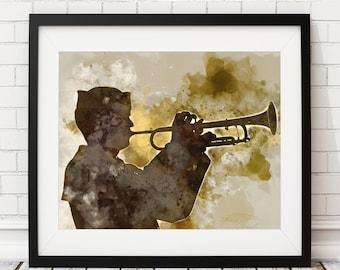 Navy Band Print, Trumpet Player Art, Navy Art, Navy Print, Navy Wife, Navy Mom, Sailor Art, Marching Band, Navy Gift, Military Gifts