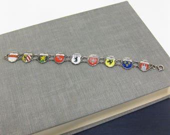 Vintage German 800 REU Souvenir 9 City Shield Bracelet