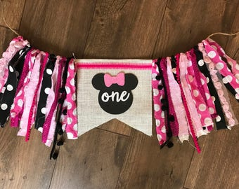 Minnie Mouse high chair banner. Pink polka dots